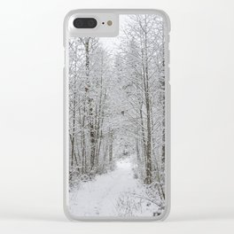 Snow Covered Trees Line The Path Clear iPhone Case