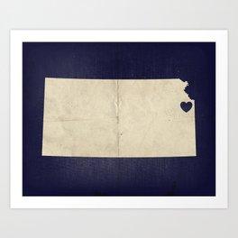 Kansas City, Kansas Love Map Art Art Print