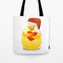 Chick with Santa hat Tote Bag