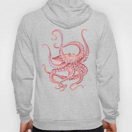 Red Octopus Dance watercolor Ink Art Hoodie