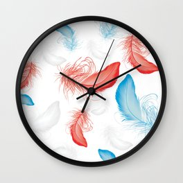 Seamless Pattern with Feathers Wall Clock