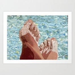Pieds dans le sable Art Print