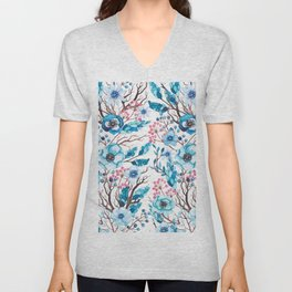 Hand painted blue pink brown watercolor floral berries Unisex V-Neck