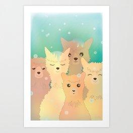 Alpaca Family I - Mint Green Snow Background Art Print