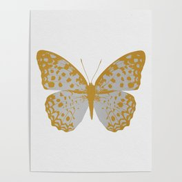 Silver Butterfly Poster