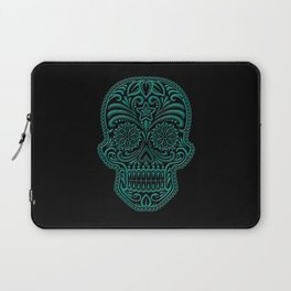 Intricate Teal Blue and Black Day of the Dead Sugar Skull Laptop Sleeve