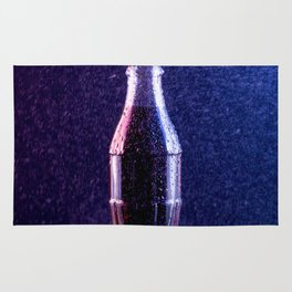 Glass bottle with carbonated drink under the drops of water Rug
