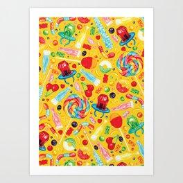 Candy Pattern - Yellow Art Print