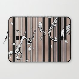 """Typography x illustration """"FLIP"""" incorporate with abstract lines and flowers' movement Beige Pink Laptop Sleeve"""