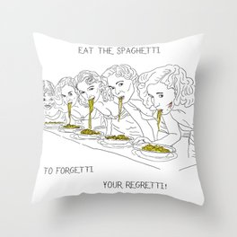 Girls and the Spaghetti Throw Pillow