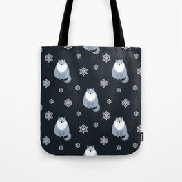 Winter Fox And Snowflakes Tote Bag