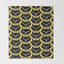 Mid Century Modern Cat Black Yellow Throw Blanket