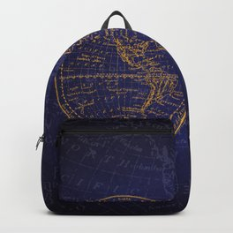 Antique Navigation World Map in Blue and Gold Backpack