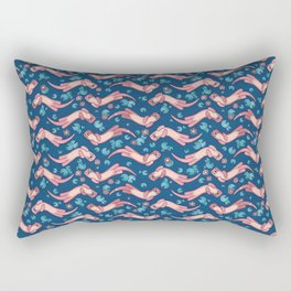 Otter and Water Lily Blue and Pink Rectangular Pillow