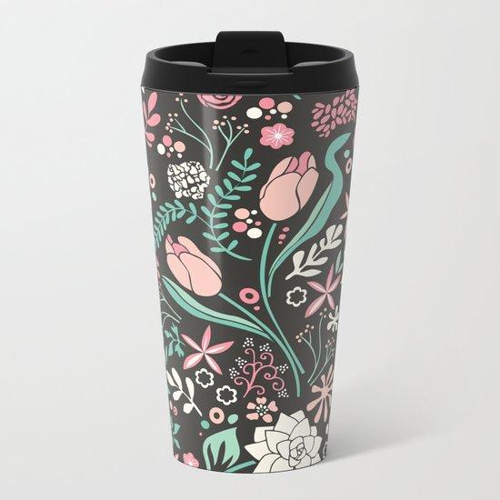 Tulip flowerbed Metal Travel Mug