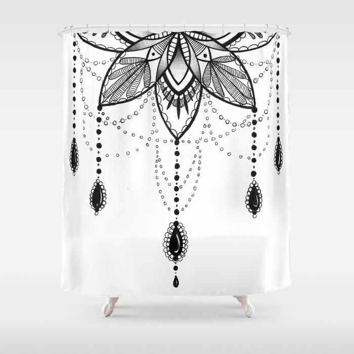 Flowing mandala chandelier drawing shower curtain by for How to shower with a new tattoo