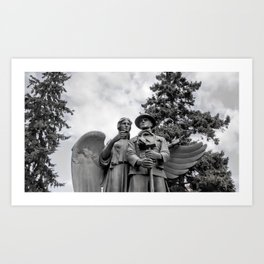 War Memorial - Angel and Soldier Black and White Photo Art Print