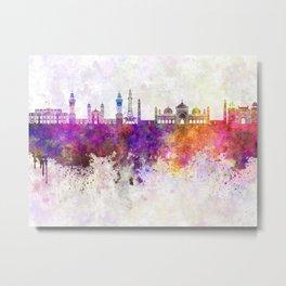 Lahore skyline in watercolor background Metal Print