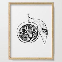 cat + orange Serving Tray