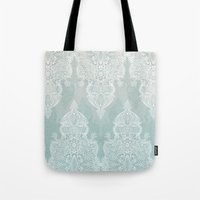 moroccan Tote Bags featuring Lace & Shadows - soft sage grey & white Moroccan doodle by micklyn