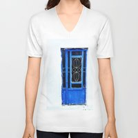 greek V-neck T-shirts featuring Greek Blue by Steve P Outram