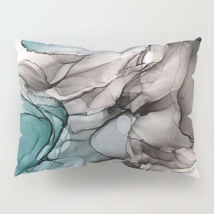 Smoky Grays and Green Abstract Flow Pillow Sham