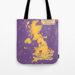 Map Of the Most Haunted Locations of the United Kingdom. Tote Bag