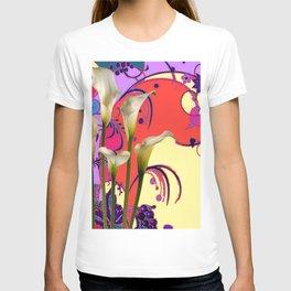 Modern Art White Calla Lilies Fantasy Garden Flowers T-shirt