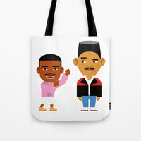 fresh prince Tote Bags featuring The Fresh Prince (Version 2) by Evan Gaskin