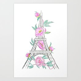 Eiffel tower and peonies Art Print