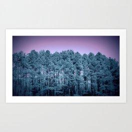 Muted Teal Trees Lavender Sky Art Print