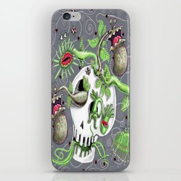 skull pot with carnivorous plants iPhone Skin