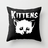 goth Throw Pillows featuring Goth Kittens by Ludwig Van Bacon