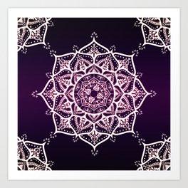 Violet Glowing Spirit Mandala Art Print