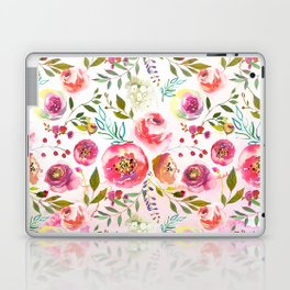 blush pink peonies watercolor fuchsia flowers Laptop & iPad Skin