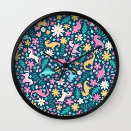 Floral Burst with Dinosaurs + Unicorns in Neon Wall Clock