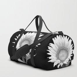White Sunflower Black Background Duffle Bag