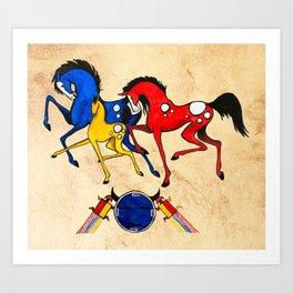 Navajo Horse Family Art Print