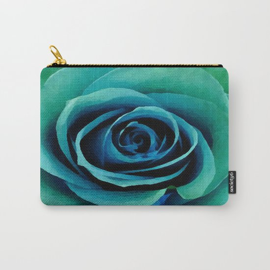 Painterly Rose - Blue- Green - Turquoise Carry-All Pouch