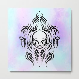 Alien Tribal Tattoo Metal Print