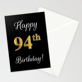 """Elegant """"Happy 94th Birthday!"""" With Faux/Imitation Gold-Inspired Color Pattern Number (on Black) Stationery Cards"""
