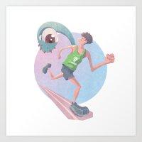 runner Art Prints featuring Runner by J.M. Benga