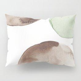 2 |181104 Australian Leaf Green & Brown Earth Orbs | Watercolour Circle Abstract Geometrical Pillow Sham