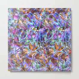 Floral Abstract Stained Glass G268 Metal Print