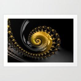 Fractal Shell Black Gold Art Print