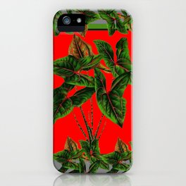 Decorative  Red & Grey Tropical Botanical Green Foliage iPhone Case