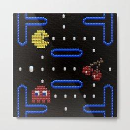 Bitwork Beadwork Pac-Man Metal Print