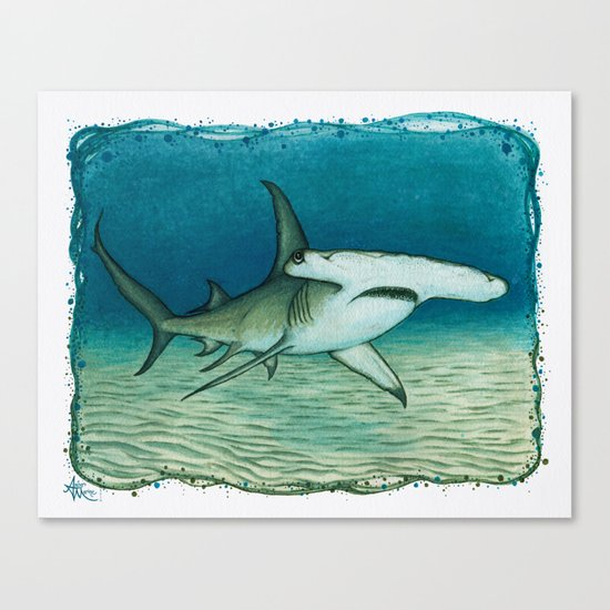 """Great Hammerhead Shark"" by Amber Marine ~ Watercolor Painting, (c) 2016 Canvas Print"