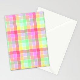 Pastel Rainbow Sorbet Ice Cream Check Plaid Stationery Cards