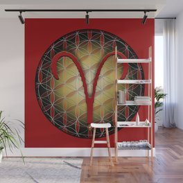 ARIES Flower of Life Astrology Design Wall Mural